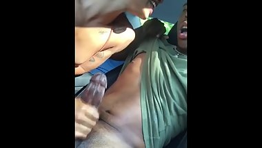 handjob in the car - damn she know how to tease a nigga and make him cum
