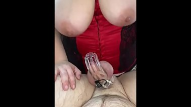Quick POV pegging in chastity teaser!