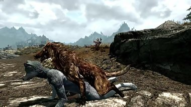 Wolf Lover- Animated Furry yiff between a wolf and anthro wolf in skyrim