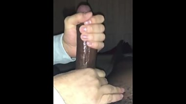 White neighbor playing with my lubed up bbc until I cum