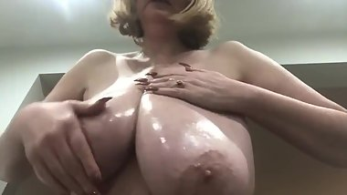 Annabel's shiny oily 34h all natural big boobs
