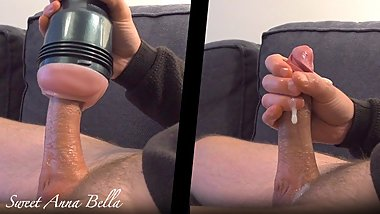 Super nice cumload with my lubed Fleshlight on my hard big white dick 4K