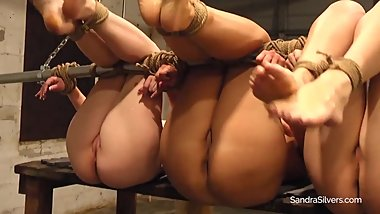1773 Foot Worship for Three Naked, Barefoot, Bound, Ballgagged Beauties!