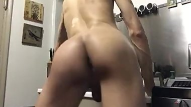 Femboy ass fuck pose kitchen cock