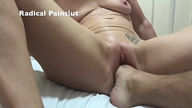 EXTREME PUSSY INSERTION WITH FOOT FOR SUBMISSIVE PAINSLUT