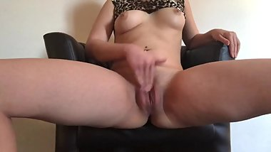 Hot TEEN spreading her legs on a leather chair to rub her TINY WET PUSSY