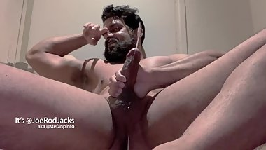 Beard Muscle Jacks Uncut Cock and Cums Fountains