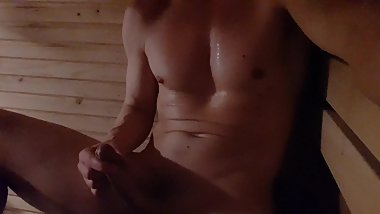 Solo Male - Enjoying in the Swedish sauna - thick cumshot at the end
