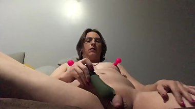 Pre-op transwoman playing with her new toys