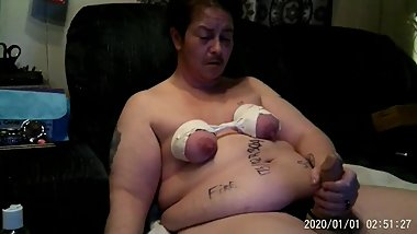 Fat Ugly BBW Trans Man Humiliated By Jerking Off With Tied Tits Displayed