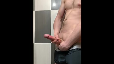 A huge shoot of cum - Big white monster dick cum after month of waiting