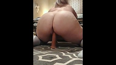 BBW with phat ass rides thick 8 inch dildo