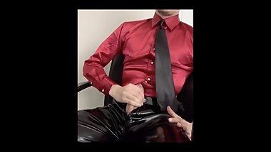 Satin and Leather Grinding and cumshot