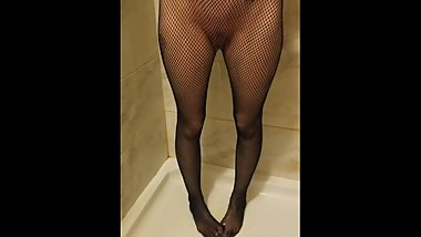 little girl peeing in her fishnet stockings