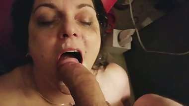 my cumslut takes a huge facial then swallows cock and licks balls