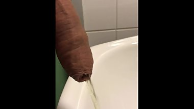 Uncut penis public toilet sink piss through the foreskin