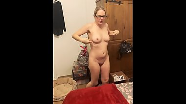 Mom strips for stepson and makes her tits bounce