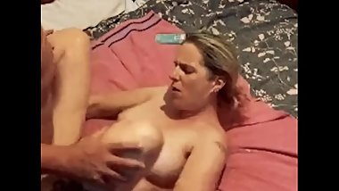 Stepson pounds his mom pussy and cums inside her