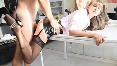 Leather skirt blond loves sex