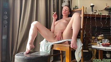 Sexy Sensual Cigar smoking & squirting first thing in the morning