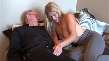 Teen with big saggy tits gets abused by lucky grandpa