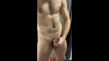 Gym camera catches furry jock stroking and cumming before shower