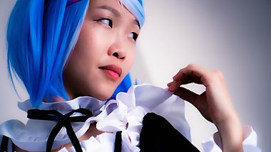 Hentai Inspired Rem Cosplay - Chinese Maid Sucks Son's Dick to Help Study