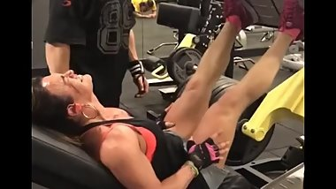 Muscled FBB leg press last exhausting reps screams loop