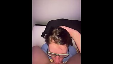 Whore sucks my long dick and I cum on her face