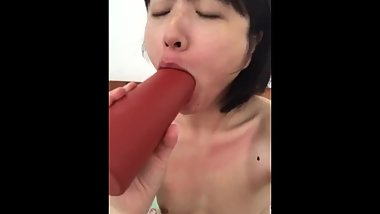 Perfect Asian loses bet, has to deepthroat thermos