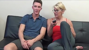 Taboo! Naughty and mature stepmom made her lucky stepson cum twice