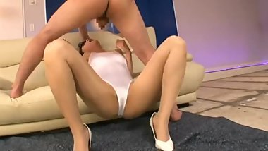 beautiful girl in sexy white leotard and pantyhose deepthroat