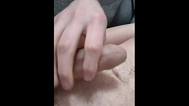 Cumming to strap on porn