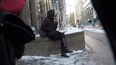 Smoking sexy boots girl in winter 2nd minute