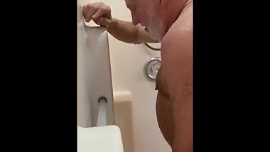 Real daddy in shower 5 - stroke 2 cum 1