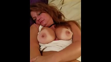 Tanned Friends Big Tits Mom Surprises Me and Plays with Her Pussy & Nipples