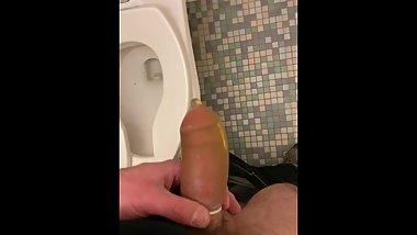 Piss in a Fresh dry unlubed condom.  Tight seal on a half erection