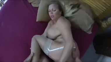 Horny stepmom gets her pussy filled up with cum by her stepson