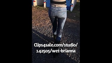 Wet Brianna Wets her Jeans in the Lot