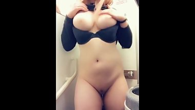 Hottie Gets Massive Tits Out In Plane Toilet !