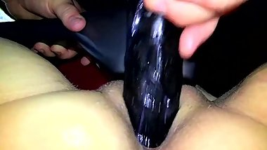 Large dildo in pussy and big vibrations on clit
