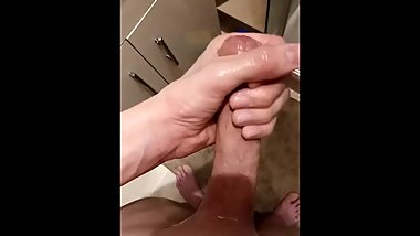 Teen Jerks His Big White Cock After A Shower
