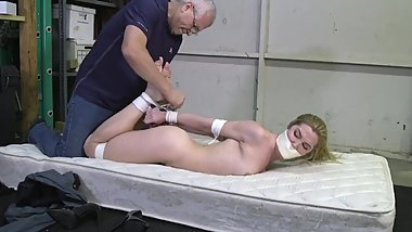 girl chairtied, mouth stuffed gagged and naked hogtied