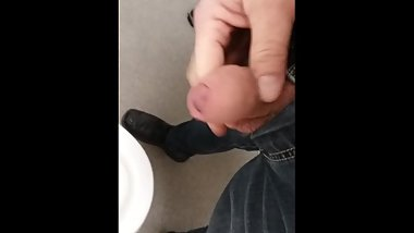 Morning Brew at work, uncut cock play