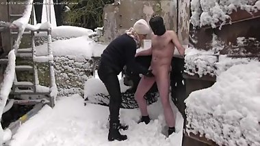 ball busting in the snow 2