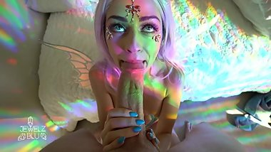Rainbow Fairy Cosplay POV Sloppy BJ