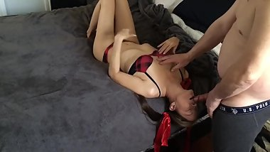 Slut wife throat fucked and pounded doggy style for creampie.