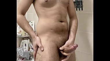 hairy dick shoots a huge load - cum