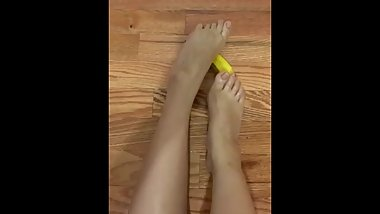 Sexy Small Asian Feet Plays With Banana Fruit
