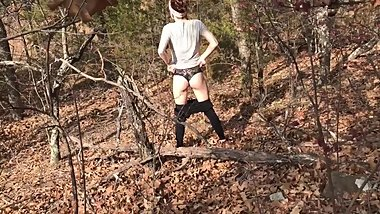 Hiker caught peeing in the woods (pt1)